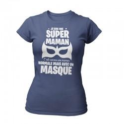 TEE-SHIRT FETE DES MERES BLEU JEAN - SUPER MAMAN MASQUÉ