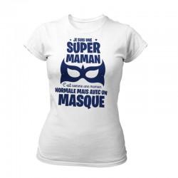 TEE-SHIRT FETE DES MERES BLANC ET BLEU MARINE - SUPER MAMAN MASQUÉ