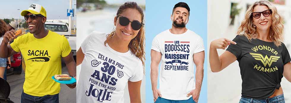 Accueil tee-shirt personnalisé anniversaire, fête, papa,mère