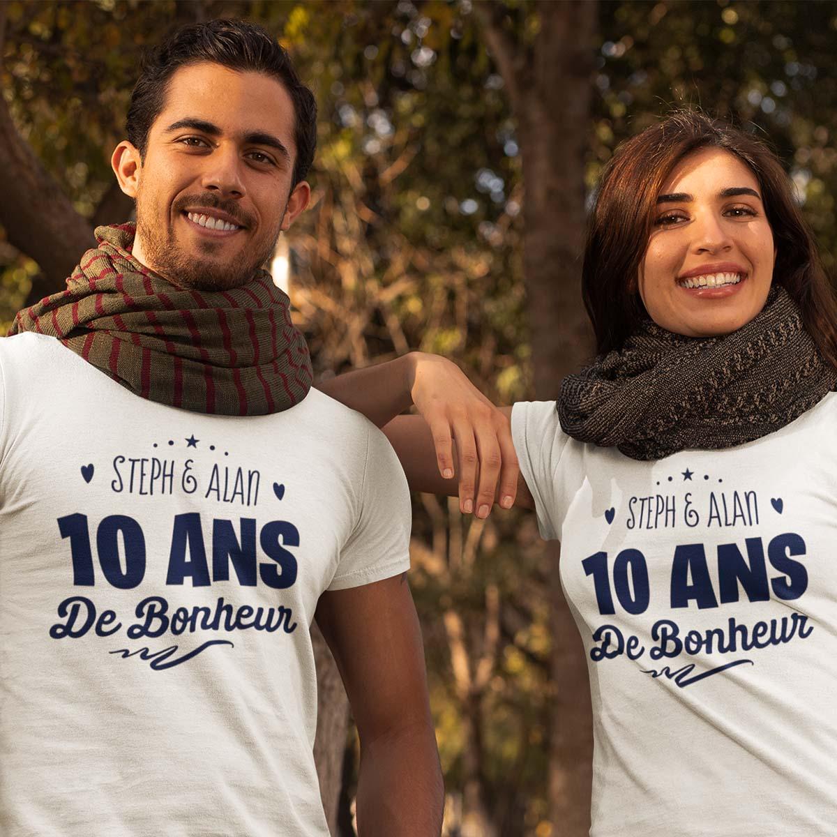 Tee-shirt pour couple | Année de bonheur | tee-shirt personnalisé