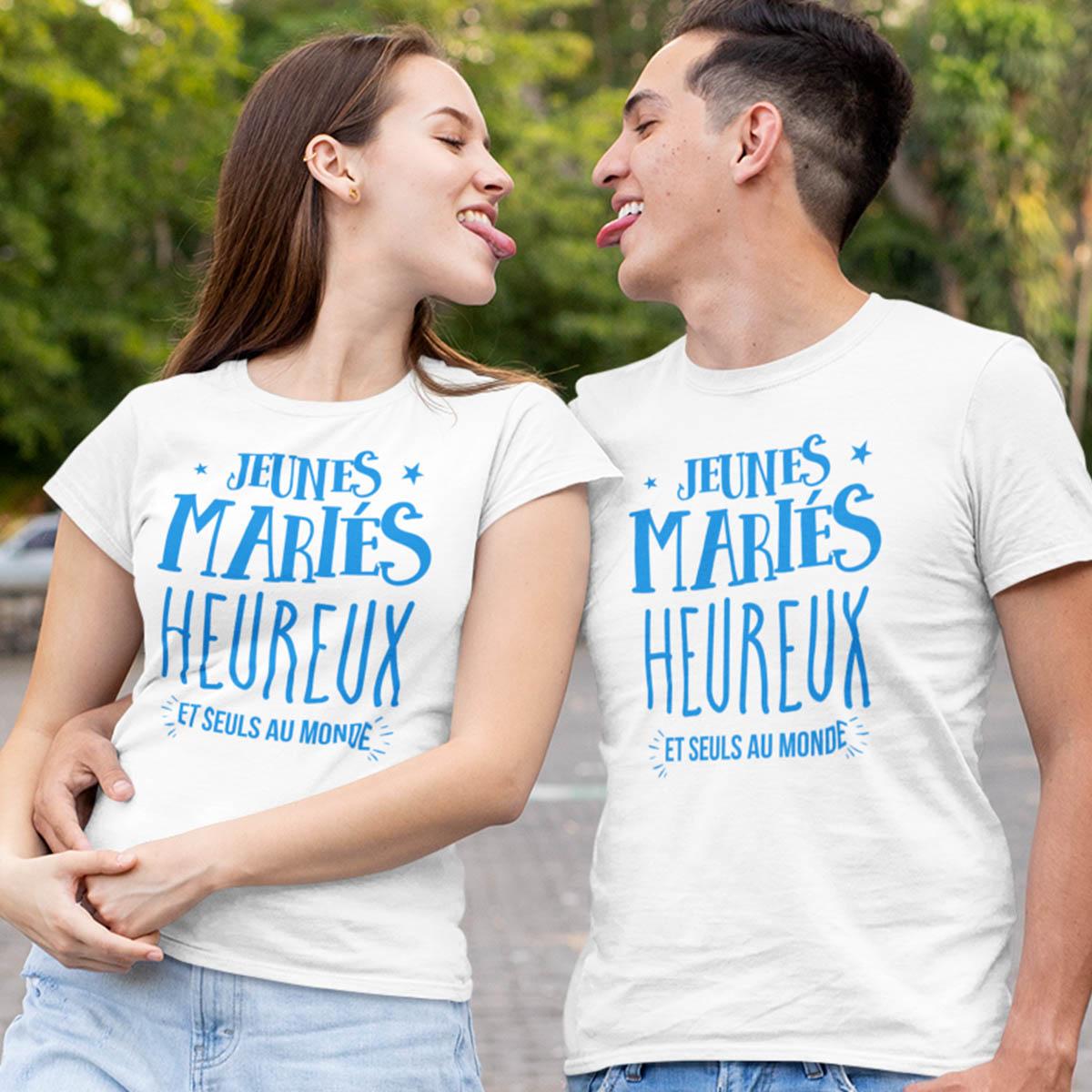 Duo tee-shirt Jeunes mariés et seuls au monde | My Kustom tee-shirt France