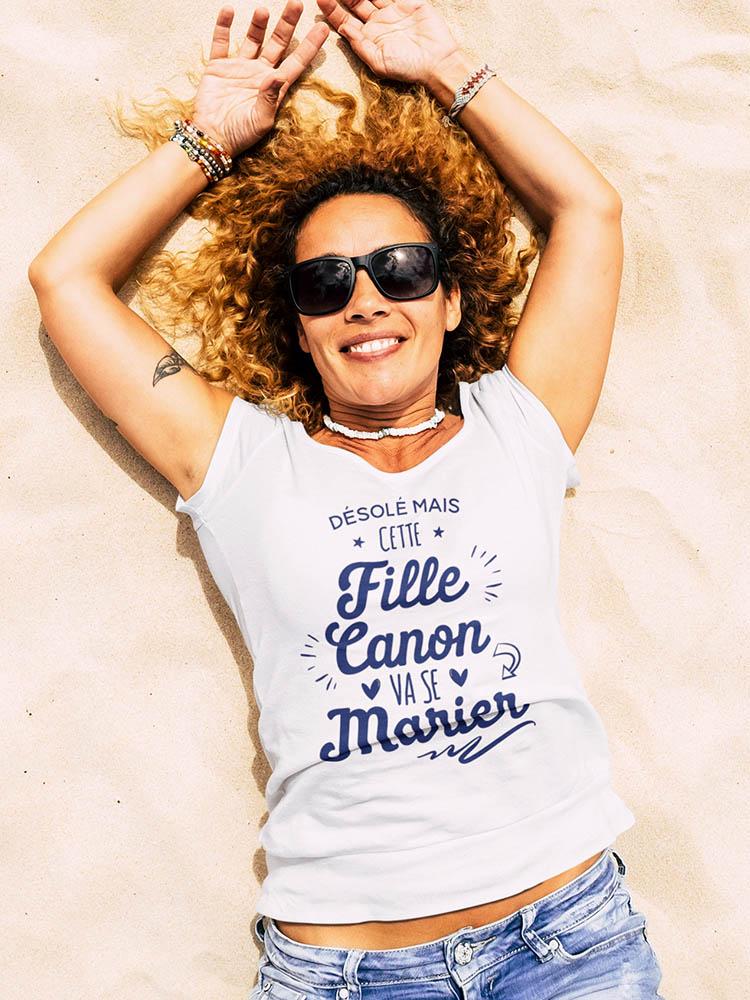 Tee-shirt evjf blanc et texte bleu marine