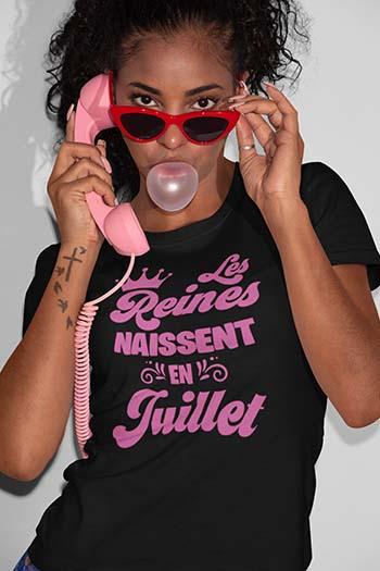 Tee-shirt anniversaire personnalisé Les reines naissent My kustom France