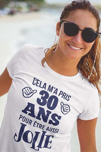 tee-shirt anniversaire femme à texte blanc motif bleu marine