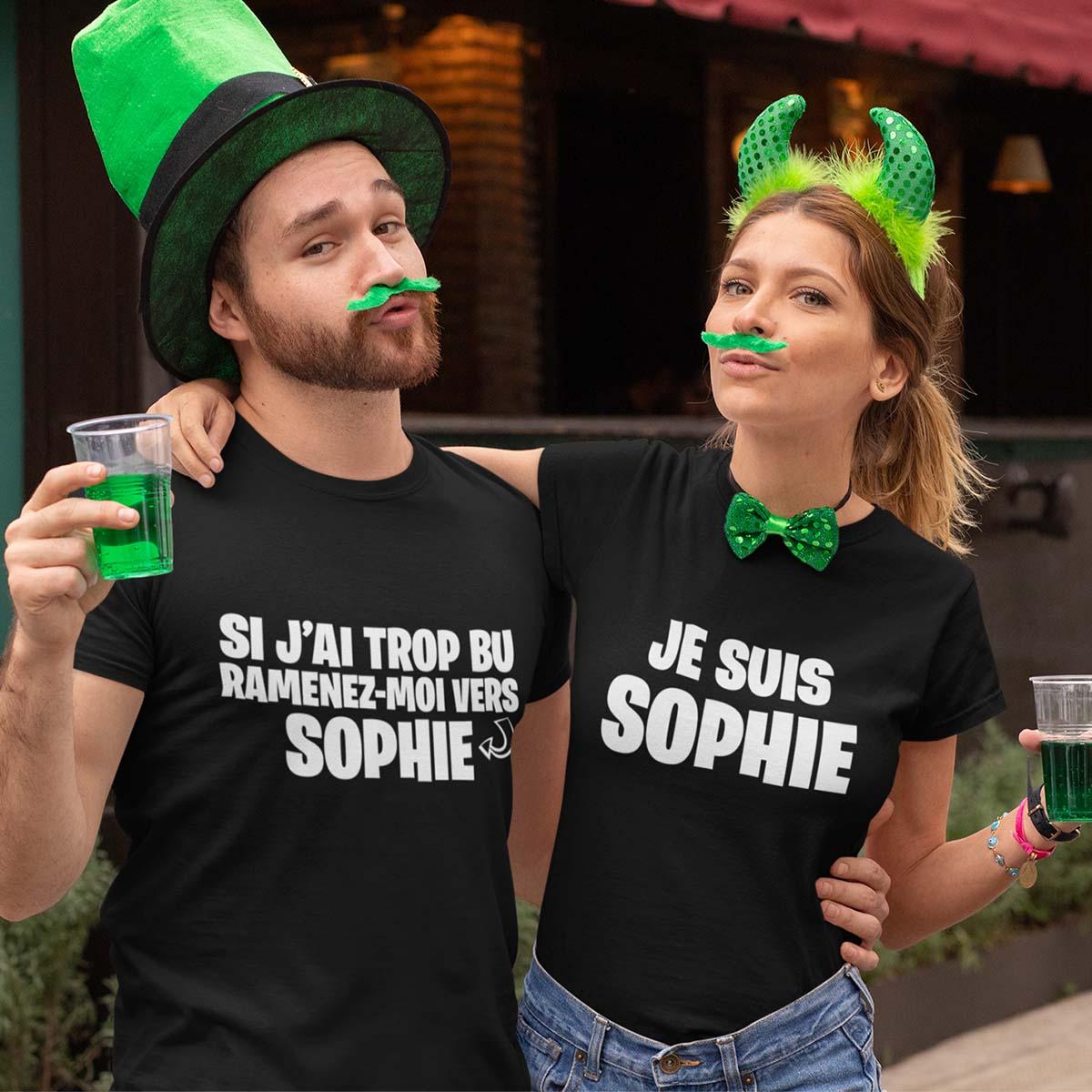Tee-shirt personnalisé soirée ' Si j'ai trop bu ramenez-moi vers'