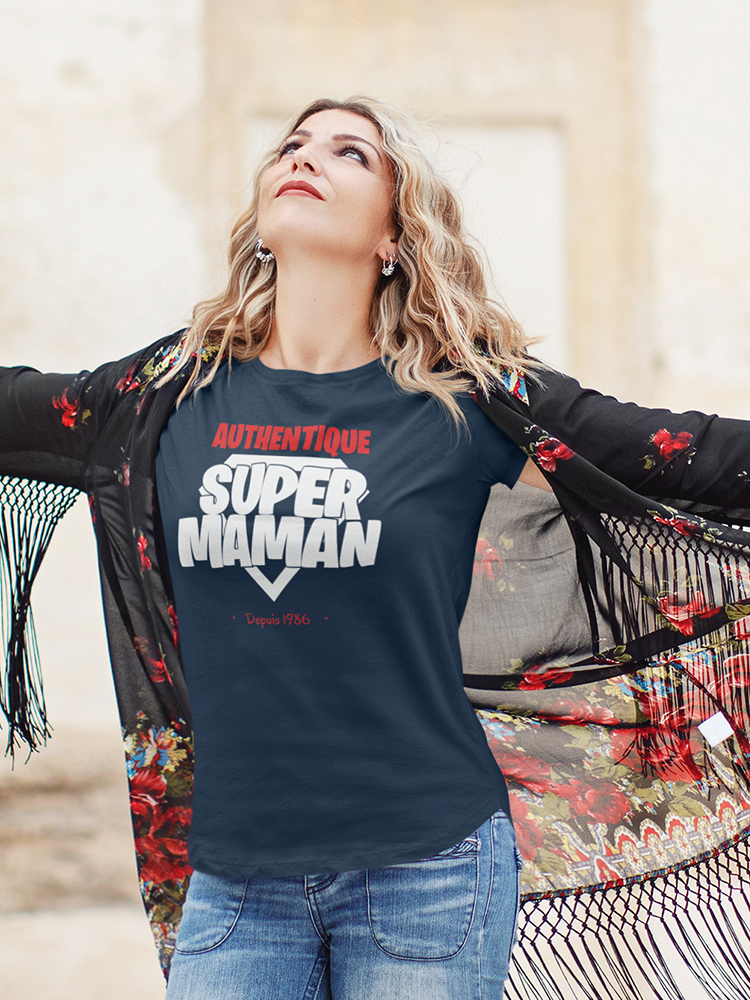 Tee-shirt super maman bleu marine