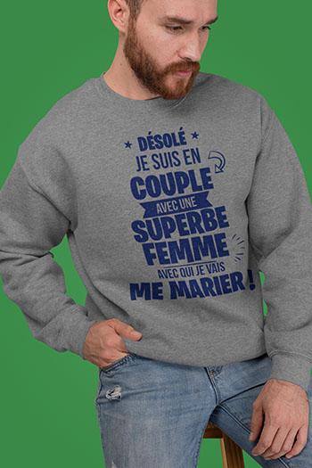 Sweat shirt futur marié texte en couple